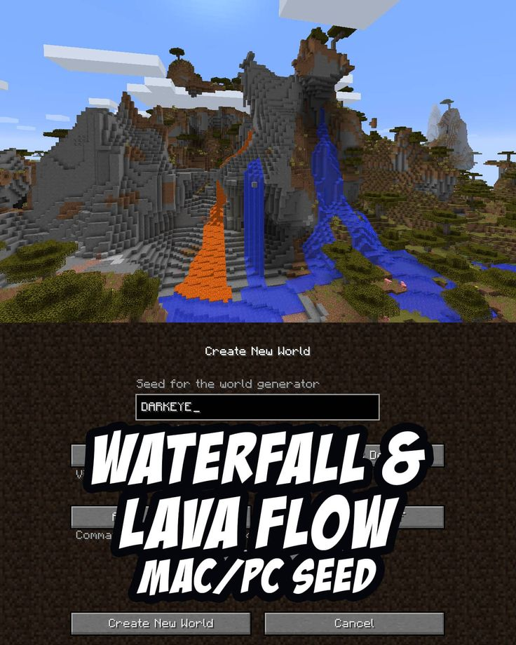 Massive savanna lava flow in this Minecraft Seed. A sky-scraping savanna m pours out a huge lava flow. For PC/Mac. Seed: DARKEYE