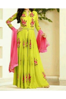Beautify your look wearing this lemon green and pink thread embroidered georgette floor length Anarkali suit set #anarkalisuitset #greensuitsset #womensfashion #ethnicsuits #partywearanarkali