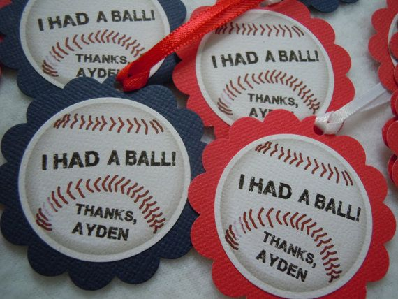 Baseball Banquet Centerpieces   baseball party favor tags party favor tags packed 12 they are aprox a ...