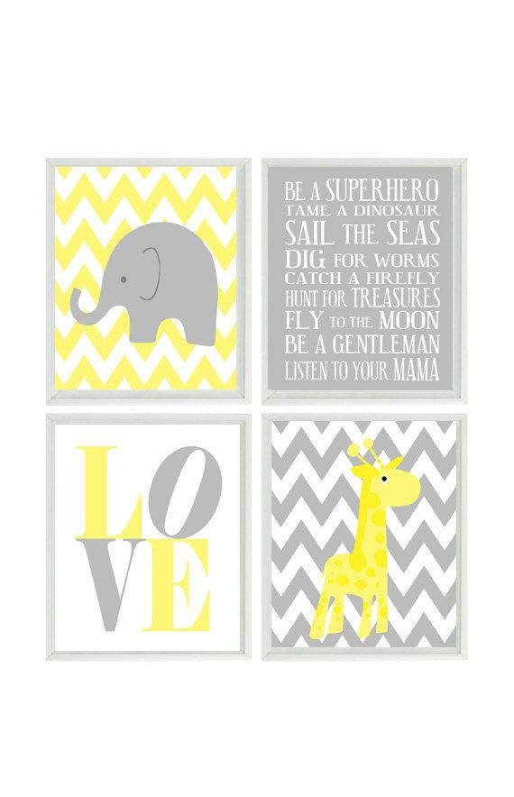 Nursery art elephant giraffe chevron nursery prints gray for Elephant mural nursery