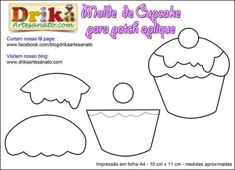 Patchwork moldes cupcake para patch aplique • Drika Artesanato - O seu Blog de Artesanato!