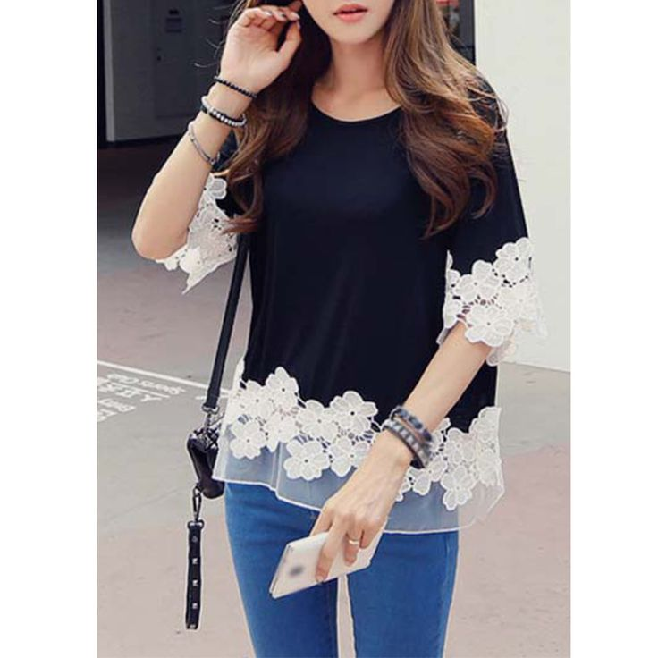 Cheap c3 star, Buy Quality clothing fold directly from China clothing toggles Suppliers: New Fashion T shirt women Lace half sleeve round neck splicing black blouses casual cute ladies clothing blu