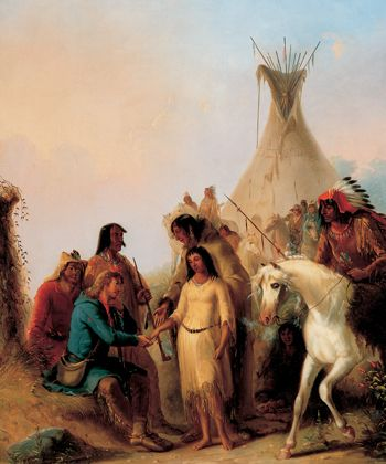 The Trapper's Bride, by Alfred Jacob Miller, 1850 - oil on canvas. Location:  Joslyn Art Museum, Omaha Nebraska.