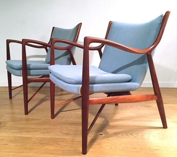 Finn Juhl 45 Chairs // Søren Horn, Original upholstery, mahogany 1970's.