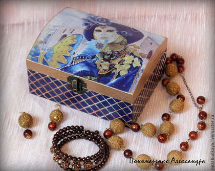 """Шкатулка """"Венецианский карнавал"""" - тёмно-синий,золотой,золочение,золото"""