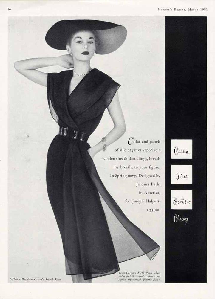 JACQUES FATH Fashion Ad - 1951 - Beautiful Dress & Big Hat JEAN PATCHETT   eBay