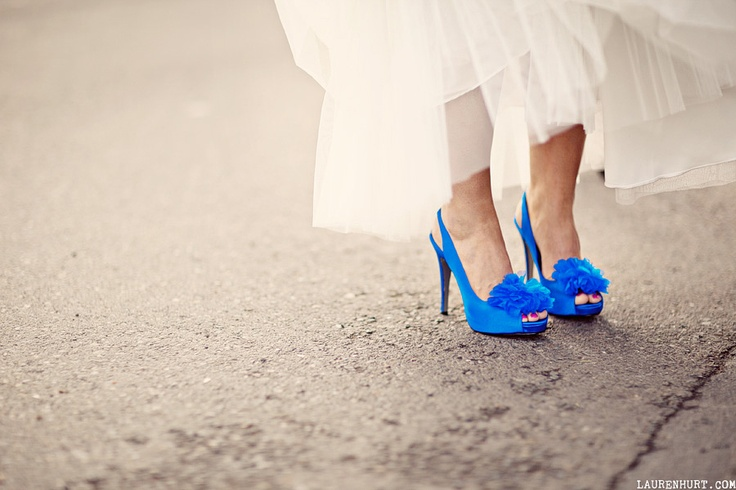 bright blue wedding shoes!