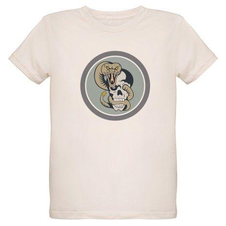 Rattle Snake Curling Around Skull Cartoon T-Shirt