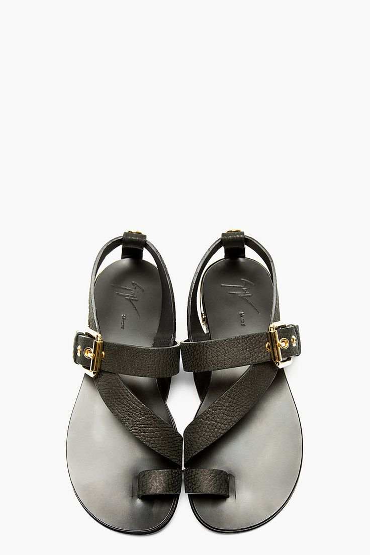 GIUSEPPE ZANOTTI Black Leather Metal Accent Sandals...nothing I'd wear but definitely unique