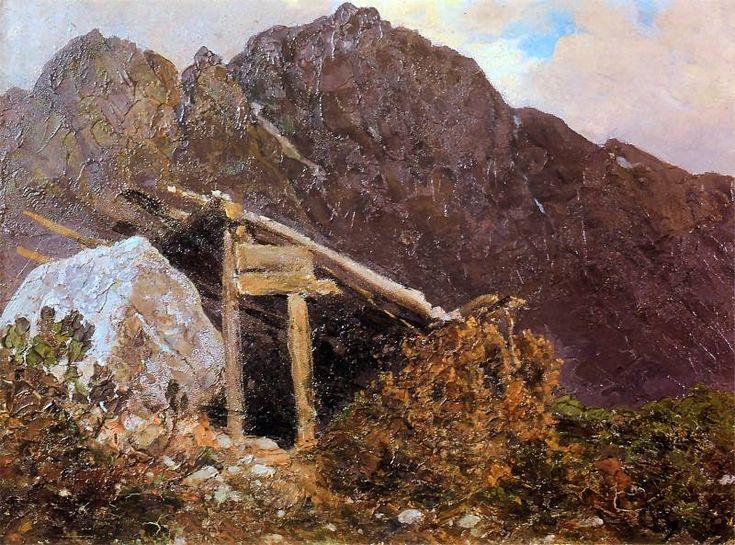 Wojciech Gerson,Krajobraz tatrzański po 1894r. Olej na tekturze 24x33,8 cm,
