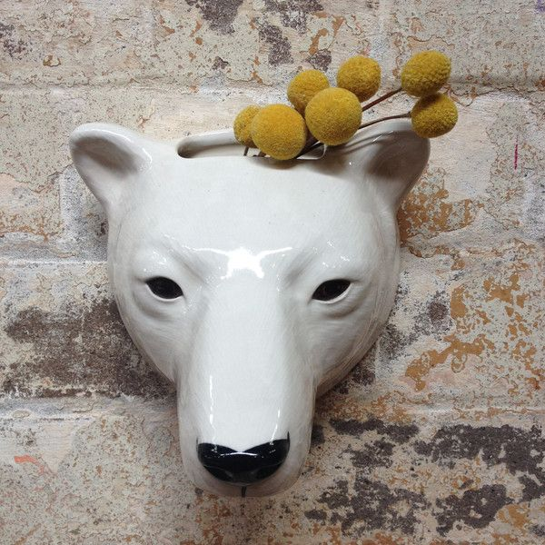 Quail ceramics animal head wall vases-Polar Bear just one of the many cute animal wall vases available instore and online