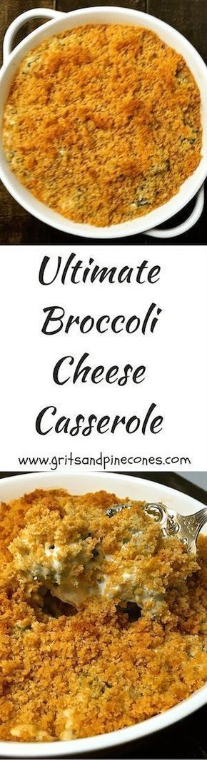 Ultimate Broccoli Cheese Casserole pairs well with just about any entrée and this delicious, iconic Southern dish is the perfect side for your holiday dinner. #thanksgivingrecipes, #thanksgivingsides, #thanksgivingsidedishes, #christmasrecipes, #christmasdinnerrecipes, #thanksgivingdinnerrecipes, via @gritspinecones/