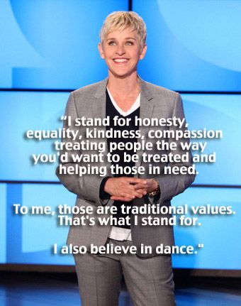 Ellen Degeneres' Feb 8 2012 monologue in response to the One Million Mom boycott of JC Penney and the Prop 8 resolution. full video here: www.youtube.com/w...