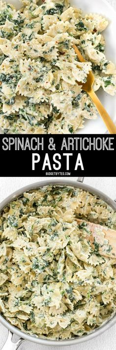 It's like having your favorite restaurant appetizer for dinner! Spinach artichoke pasta is filling, flavorful, and creamy!
