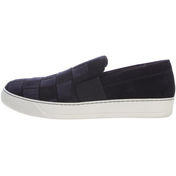 Pre-owned Lanvin Checkered Suede Sneakers ($245) ❤ liked on Polyvore featuring men's fashion, men's shoes, men's sneakers, black, mens slip on sneakers, mens shoes, mens round toe dress shoes, mens black slip on sneakers and mens black suede shoes