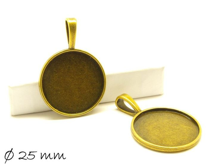 10 Stk Cabochon Fassung/Medaillon 25 mm, bronze von bead-box auf DaWanda.com