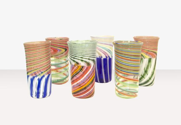 Fritz Lauenstein - Incalmo Glass Cups, blown, caned glass