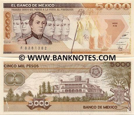 Mexico 5000 Pesos 1987  Front: Battle of Chapultepec (1847): Los Niños Héroes: teniente (lieutenant) Juan De La Barrera and cadets: Vicente Suarez, Juan Escutia, Fernando M. De Oca, Francisco Marquez, Agustin Melgar; Mexican flags; Back: Chapultepec Castle (Castillo de Chapultepec).