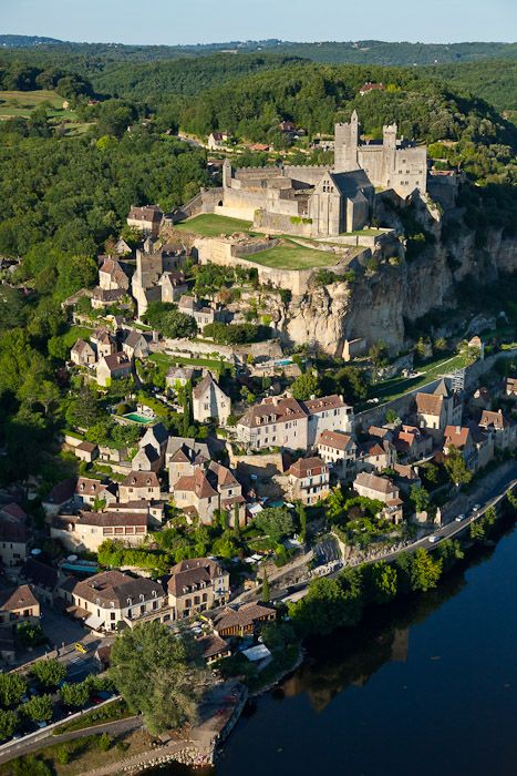 France, Dordogne (24), Black Périgord, Beynac-et-Cazenac, labeled The Most Beautiful Villages of France, castle on a rocky outcrop above the valley of the Dordogne (aerial view