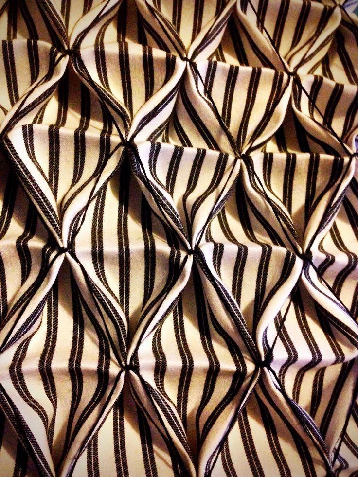 Fabric Manipulation ideas: Honeycomb Smocking with striped fabric