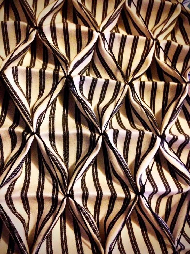 Fabric Manipulation ideas: Honeycomb Smocking with striped fabric - texture on pattern #textiles