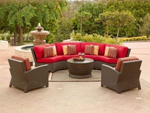 Cancun outdoor sectional with dark Jacobean Wicker and custom cushion options. This wicker set includes the curved sectional and two club chairs. : curved sectional patio furniture - Sectionals, Sofas & Couches