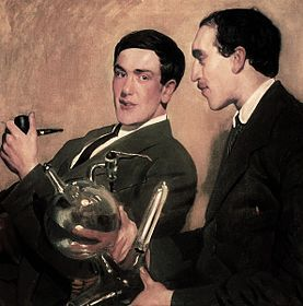 Boris Kustodiev, Kapitsa and Semyonov, 1921