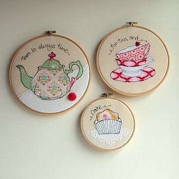 Tea, cake and embroidery - 3 of my favourite things! Lovely embroidery hoop wall art