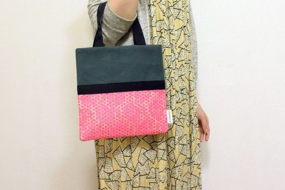 スクエアハンドバッグmoss green/ pink dot & flower lace