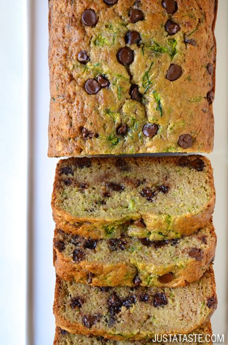 Chocolate Chip Zucchini Bread Recipe @justataste