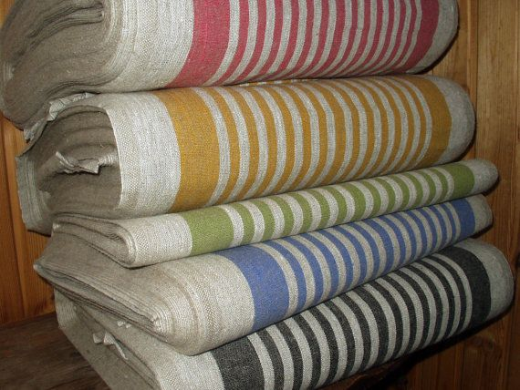 French Canvas pure Linen fabric strips Upholstery by VilendaLinen, $5.00