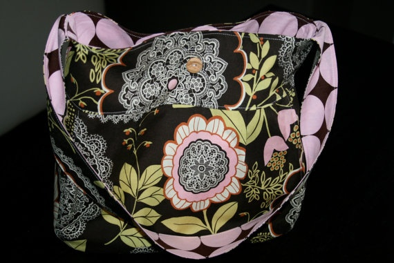 Floral Purse in Pink & Brown  Amy Butler's Lacework by JakeTally, $40.00