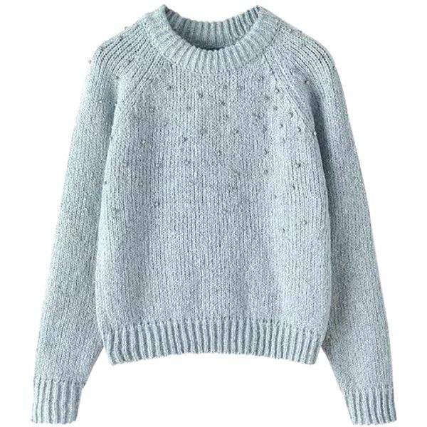 Chicnova Fashion Diamante Loose Fit Knitwear (1.845 RUB) ❤ liked on Polyvore