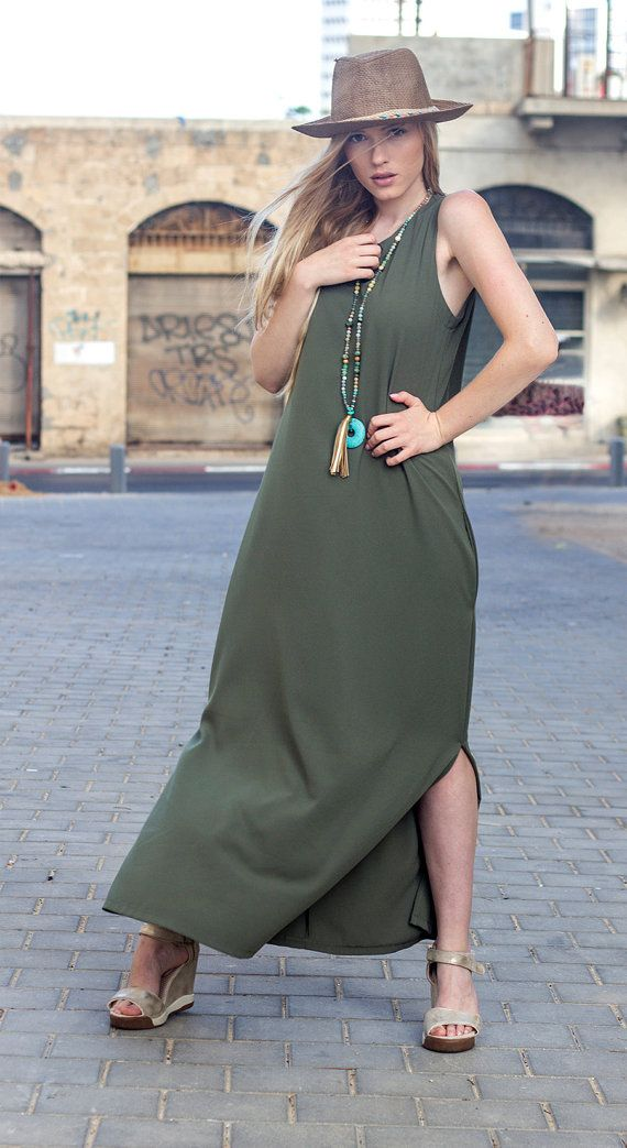 Olive green maxi dress  oversize olive green long by gvirasfashion