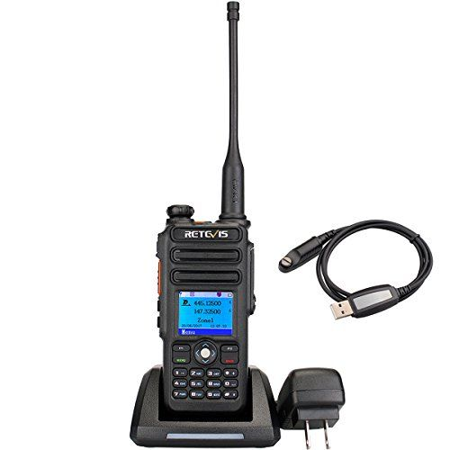 Retevis RT82 IP67 Waterproof Dual Band DMR Digital/Analog Two Way Radio 5W 136-174MHZ/400-480MHZ 3000 Channels 10000 Contacts Ham Amateur Radio with Record Function and Programming Cable  Frequency range:VHF 136-174MHZ/UHF400-480MHz,up to 3000 channel and 10000 contacts list; Support dual watch/dual receive,standard encryption, text messages,remote kill/stun/activate,single/group/all call in digital mode.  Digital mode/Analog mode switchable; Comply with digital protocol ETSI TS 102 36...