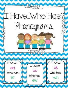 Use these I Have... Who Has cards to review phonograms! I use these with the Spalding Phonogram program. Included are the following phonograms:ay/aiaw/auew/uiow/ouoy/oierirurearworeaeeoooackngedwhshchth