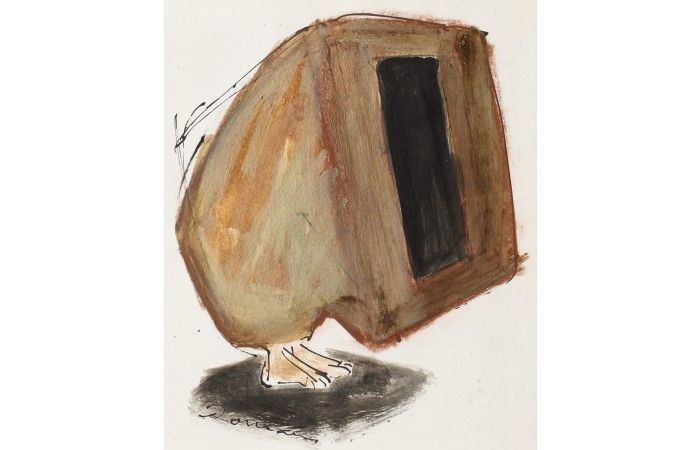 LOT 70 - MIRCEA ROMAN - Study for Selfportrait at 30 Years - Gouche, coloured pencil and ink on paper  - 18 × 15 cm (7.1 × 5.9 inch) - Estimate €700 - €1,000 http://lavacow.com/current-auctions/lavacow-christmas-auction/xx.html#sthash.1k87uRzi.dpuf