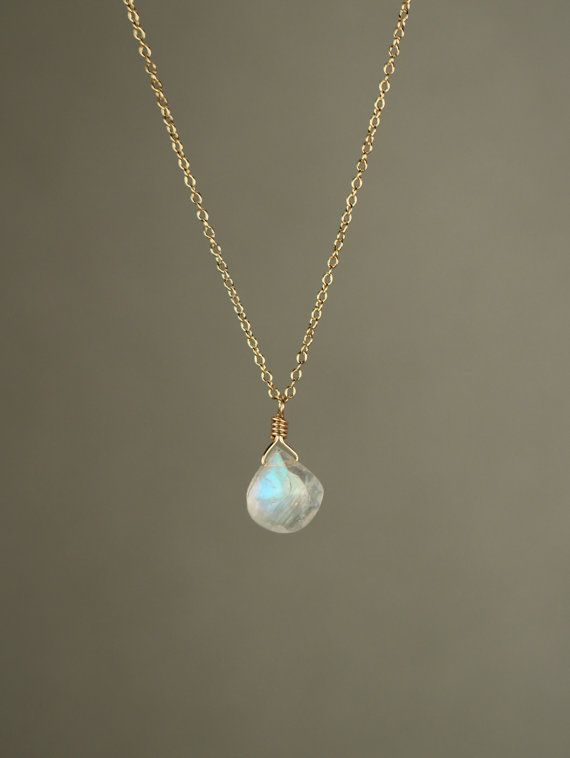 Moonstone necklace - rainbow moonstone necklace - dainty and delicate -  A tiny teardrop moostone on a 14k gold filled chain