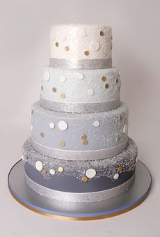 A Blue Ombre Wedding Cake With Dots | Wedding Cake