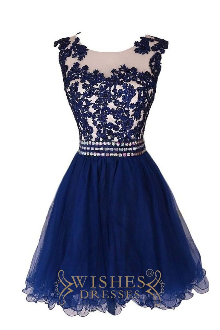 Royal Blue Scoop Lace Homecoming Dresses /Prom Dresses AM480