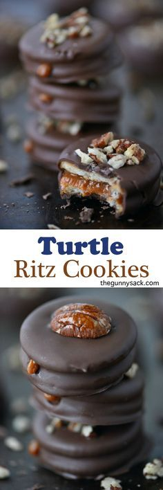 Turtle Ritz Cookies have a delicious layer of creamy caramel inside! Try them in addition to the traditional peanut butter Ritz.