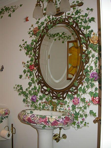 Росписное обрамление зеркала. Туалетная комната, Саффилд