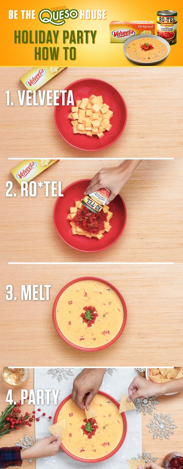 This holiday dip is full of flavor! Just combine Liquid Gold VELVEETA with the one-two kick of RO*TEL's diced tomatoes and spicy green chilies and your Holiday party will turn into a festive Famous Queso House. Discover Famous Queso recipes at http://www.quesoforall.com