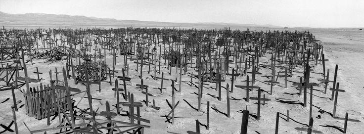 Magnum Photos - Patrick Zachmann. North of Chile, June 1999, Atacama Desert. Striking how full, yet sad and empty this cemetery looks
