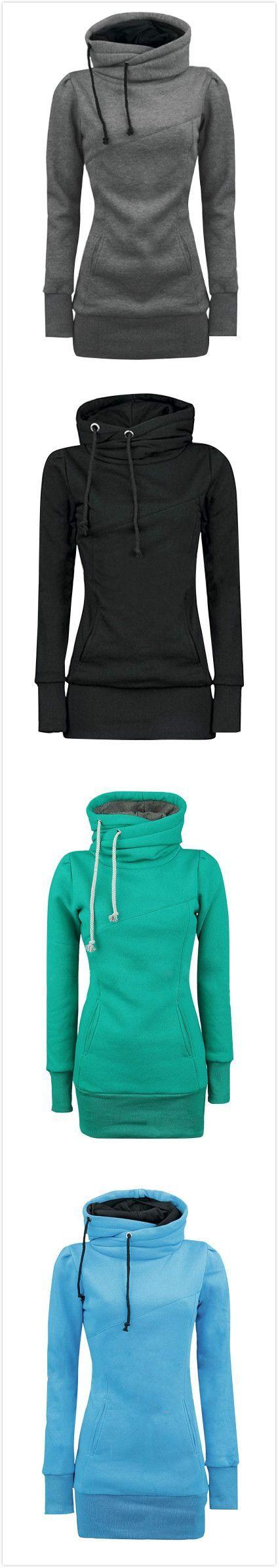 Women's Solid Turtle Neck Long Sleeve Fake Kangaroo Pocket Sweatshirt