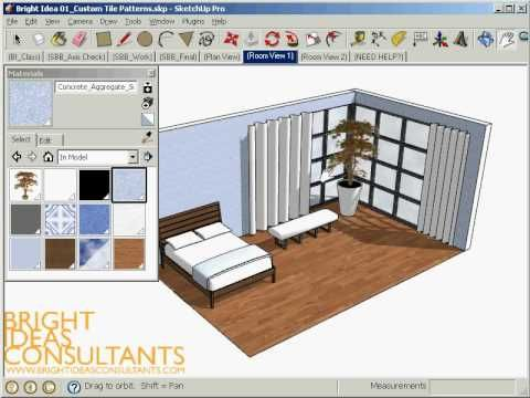 Learn to design you own custom tiled patterns in SketchUp and apply them to curved surfaces such as a bedspread and curtains. This technique is great for int...