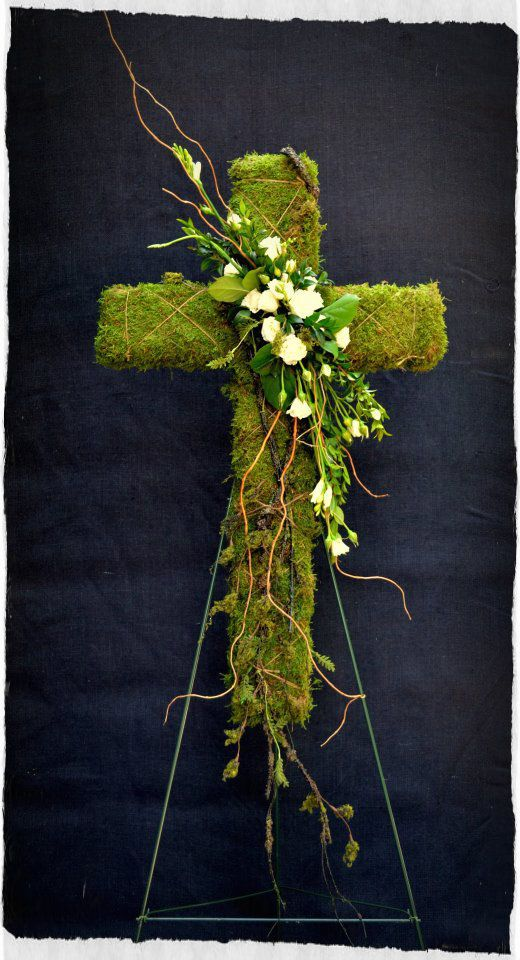 Bloomwoods Flowers - Moss Cross with floral accent, $95.00 (http://www.bloomwoodsflowers.com/moss-cross-with-floral-accent/)