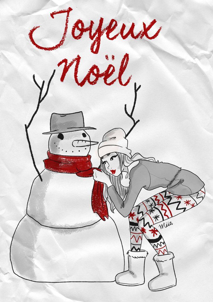 carte de voeux illustré par Miia illustratrice - Joyeux Noël : Cartes par miia-illustratrice