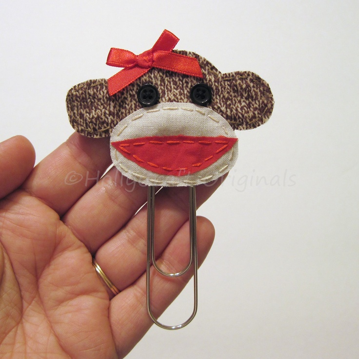 Sock Monkey Bookmark Sock Monkey Paperclip by HollyCraftOriginals, $6.50