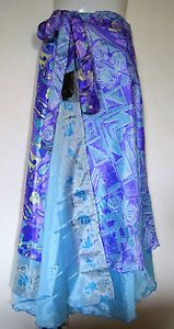 NEW-INDIAN-SILK-REVERSIBLE-DOUBLE-LAYER-WRAP-SKIRT-DRESS-WEAR-100-WAYS